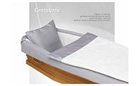 Capiton CENTAUREA satin mat, gris/blanc volant plat doublé, oreiller inclus