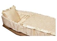 Capiton STIPA satin moiré, couleur champagne finition biais volant froncé avec plis naturels, oreiller inclus